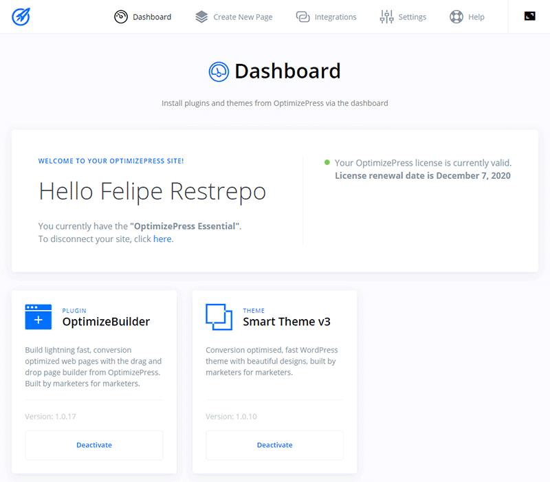 Dashboard de OptimizePress 3.0 Landing Page