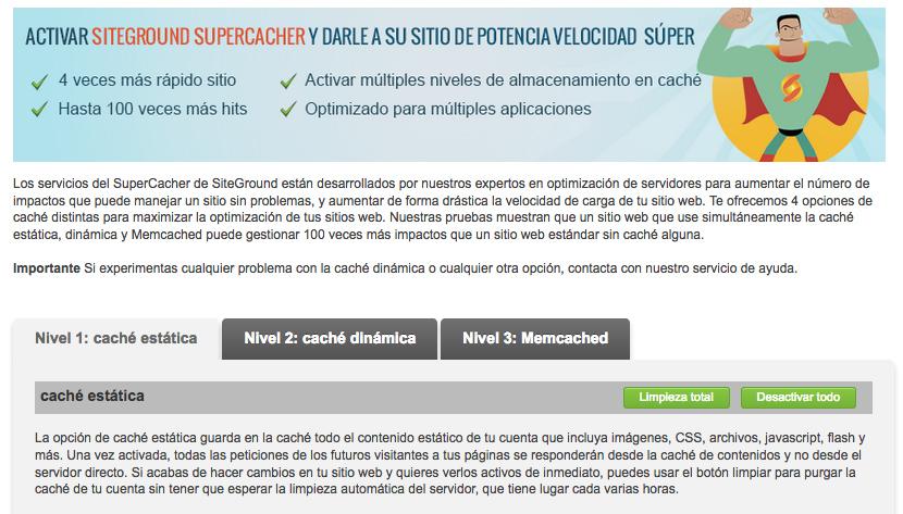 configuracion plugin supercacher de siteground