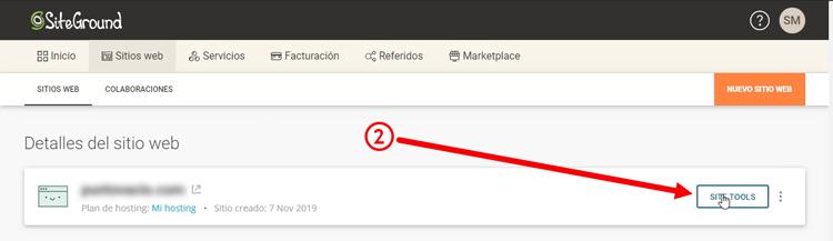 accediendo al site tools de siteground