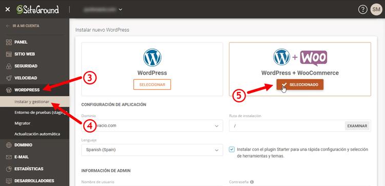 instalando wordpress y woocommerce en siteground